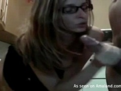 Hot girlfriend in glasses gets a facial movies