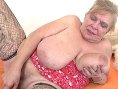 Fat grandma with huge tits fucks a toy videos