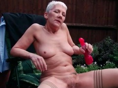 Granny masturbates outdoors with a vibrator videos