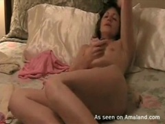 Brunette alone in bed and masturbating lustily movies at kilopics.com
