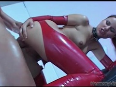Beautiful slut in red latex fucked in the ass videos