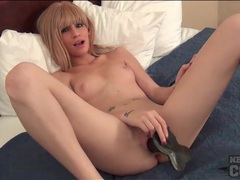 Black dildo in the shaved cunt of a cutie videos