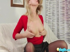 Hot milf in skirt and stockings sucks cock videos