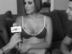 Beauty in her bra and panties gives an interview movies at freekilomovies.com