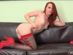 Redhead dani jensen looks utterly flawless movies at lingerie-mania.com