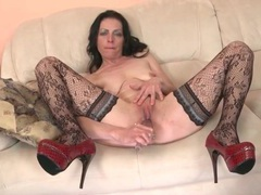 Heels and stockings on solo mature chick movies at lingerie-mania.com