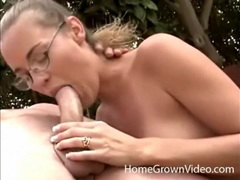 Cute blonde in glasses gives head outdoors videos