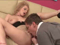Curly hair blonde girl eaten out and fingered movies at kilopills.com