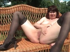 Redheaded mommy outdoors in stockings movies at find-best-babes.com