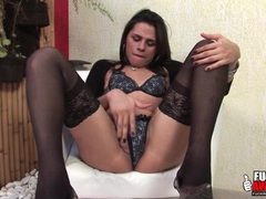 Stockings and heels are sexy on latina shemale videos