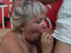 Fat blonde mom gives a good blowjob movies at lingerie-mania.com