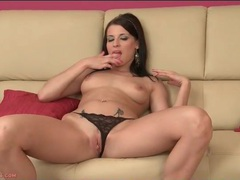 Breathtaking brunette beauty in lace panties videos