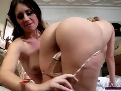 Blonde seduces beautiful brunette and licks her videos