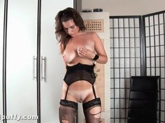 Hot girl in ripped stockings toy fucks her vagina videos