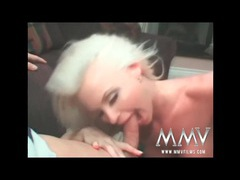 Platinum blonde with fake tits sucks a dick videos