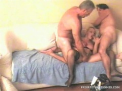 Horny mature wife shared in threesome video videos