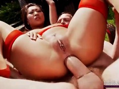 Beautiful asian dressed in red lingerie butt fucked videos