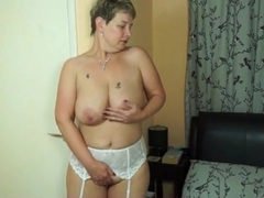 White stockings and garter belt on hot mature videos