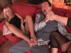 Footjobs from two beauties in nylons videos