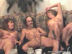 Trailer trash whores take turns riding his dick videos