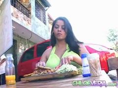 Huge tits chloe veria eats at an outdoor restaurant videos