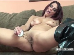 Slut in thigh high leather boots masturbates movies