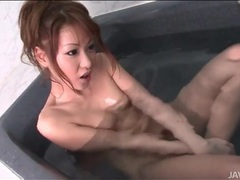 Japanese beauty in fishnets has threesome sex videos