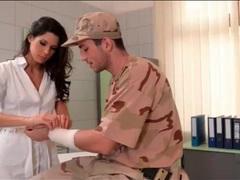 Soldier gets a blowjob from a gorgeous nurse videos
