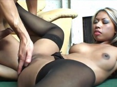 White cock completely fills her asian pussy tubes