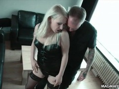 Blonde hooker in leather bent over and fucked videos
