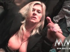 Milf slut blows guys in an airport elevator videos