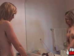 Naked tricia oaks does her hair in the bathroom tubes