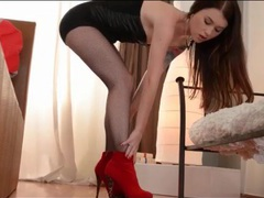 Lusty misha cross teases in dress and heels videos