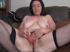 Curvy milf with a huge bush toys her vagina movies at sgirls.net