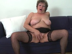 Saggy tits granny masturbates in stockings videos