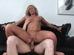 Hot milf with a tan rides his young dick videos