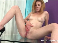 Tall cutie pees on a glass table movies at adipics.com