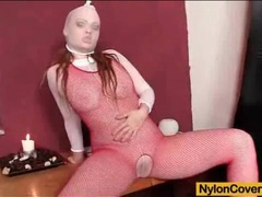 Sexy red fishnet body stocking on toy fuck girl movies at kilopics.net