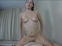 Slow pov cock ride makes him cum inside her videos