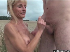 Mature blonde fucked hardcore in the grass movies at lingerie-mania.com