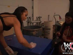Ebony lesbian slave on a leash dominated videos