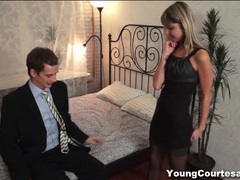 Skinny stockings girl blows and fucks him videos