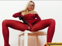Sexy glasses and red pantyhose on a beauty videos