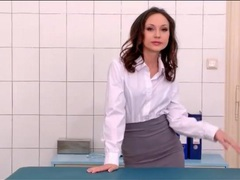 Tight skirt and blouse look hot on nataly von videos