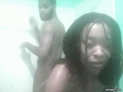 Homemade blowjob in the shower for a black dude tubes