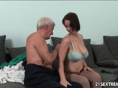 Grandpa seduces a big tits babe and licks her videos