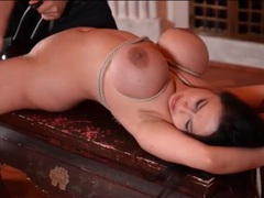 Tigerr benson tied and ass fucked by a toy tubes at korean.sgirls.net