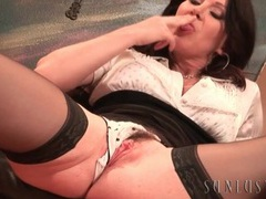 Sultry brunette milf in stockings masturbates movies at sgirls.net