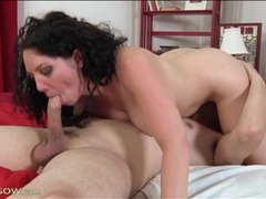 Mom with long curly hair sucks his dick videos