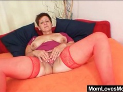 Old babe in red stockings pleasures her pussy videos